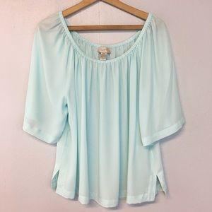 """[Loft] Light Green """"Flowy"""" semi-Sheer blouse"""